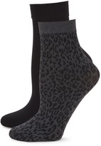 DKNY 2-Pack Solid & Animal-Print Trouser Socks