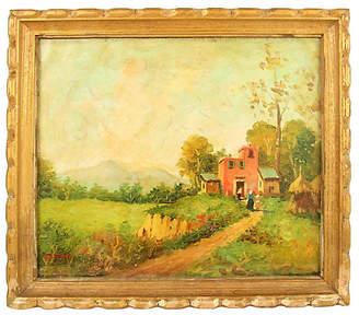One Kings Lane Vintage Italian Countryside Painting - brunelli designs inc Art - green/multi; frame, gold
