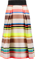 Milly Katie pleated striped sateen midi skirt