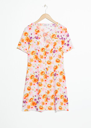 And other stories Cut Out Floral Mini Dress