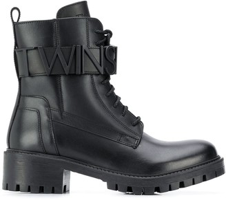 Twin-Set Logo Ankle-Strap Boots