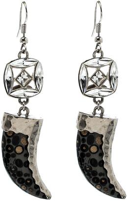 Roberto Cavalli Marble Tooth Crystal Silver Tone Hook Earrings