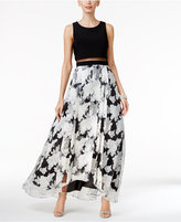 Betsy & Adam Illusion Popover Floral-Print Gown