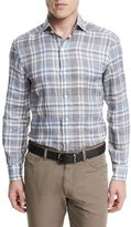 Ermenegildo Zegna Plaid Long-Sleeve Linen Sport Shirt, Blue