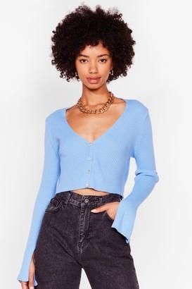 Nasty Gal Womens Sleeve the Drama Behind Ribbed Knit Cardigan - Denim-Blue