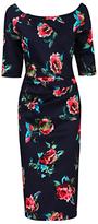 Jolie Moi Retro Floral Print Half Sleeve Dress, Navy