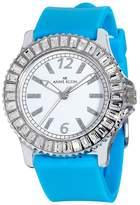 Anne Klein Women's 109197WTTQ Swarovski Crystal Accented Silver-Tone Turquoise Strap Watch