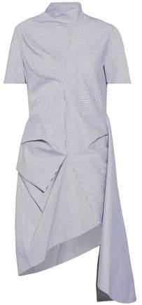 J.W.Anderson Asymmetric Draped Striped Cotton-Blend Dress