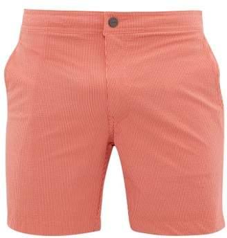 Onia Calder Pinstriped Seersucker Swim Shorts - Mens - Red Multi