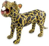 Wood Figurine Sculpture Crafted by Hand, 'Jaguar Divinity'