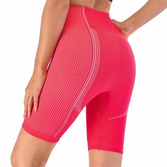 SotRong Seamless Running Gym Shorts for Women High Waist Tummy Control Fitness Sports Cycling Running Yoga Short Sports Leggings Red M