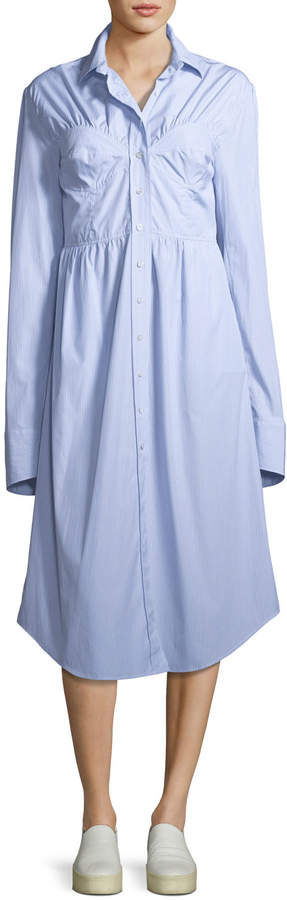 ALEXACHUNG Alexa Chung Seamed Button-Down Striped Poplin Shirtdress