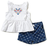 Little Me Baby Girls 12-24 Months Heart-Embroidered Top & Flower-Embroidered Shorts Set