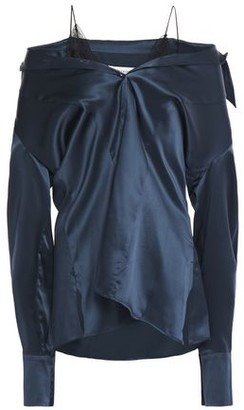 Maison Margiela Cold-shoulder Lace-trimmed Silk-satin Top