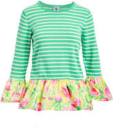 Haley And The Hound Haley and the Hound Women's Pullover Sweaters GREEN - Green & Yellow Floral Stripe Peplum Sweater - Women