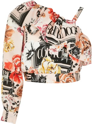 River Island Girls Pink printed one shoulder cropped top