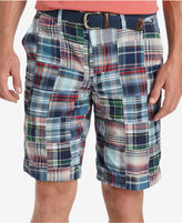 "Izod Men's Flat Front Madras Patchwork 10.5"" Shorts"