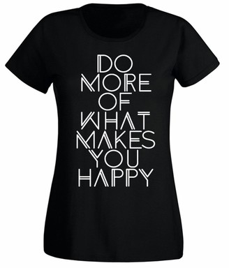 Flip Womens Do More of What Makes You Happy Positive Slogan T-Shirt Black UK 10-12 (M)
