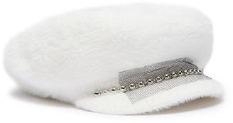 Venna Embellished mesh ball chain wool furfelt sailor cap