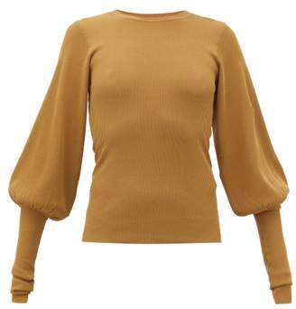 Totême Vignola Bishop-sleeve Ribbed-knit Sweater - Womens - Light Brown