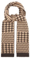 Allude Houndstooth-knitted Wool-blend Scarf - Womens - Brown