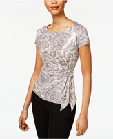 MSK Printed Metallic Side-Tie Top