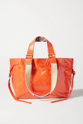 Isabel Marant Bagya Crinkled Patent-leather And Canvas Tote - Orange