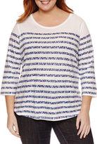 Liz Claiborne 3/4 Sleeve Scoop Neck T-Shirt-Plus