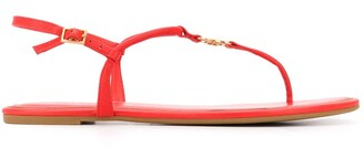 Tory Burch Logo Medallion Leather Sandals