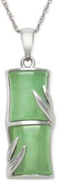 Macy's Dyed Jade Pendant Necklace in Sterling Silver