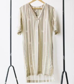 Komodo Stripes Organic Linen Jil Tunic - 14 - Natural