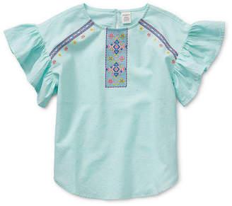 Arizona Girls Round Neck Short Sleeve Blouse Preschool / Big Kid