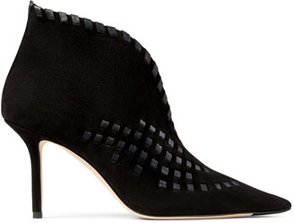 Jimmy Choo SAVI 85 Black Suede Ankle Boots with Nappa Leather Whipstitching