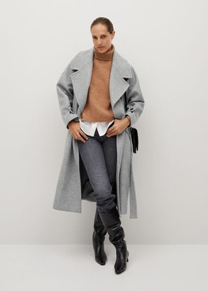 MANGO Woollen coat with chain detail
