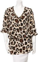 Blumarine Silk Leopard Print Tunic