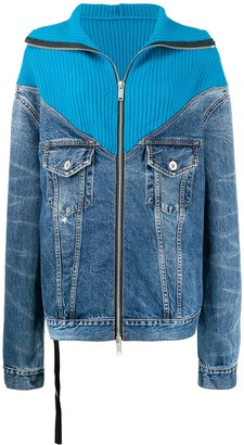 Unravel Project ribbed-panelled denim jacket