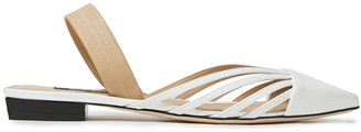 Sergio Rossi Sr Milano Cutout Smooth And Patent-leather Slingback Point-toe Flats