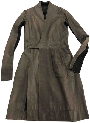 Rick Owens Brown Leather Coat for Women