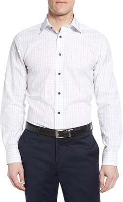 David Donahue Luxury Non-Iron Trim Fit Check Dress Shirt