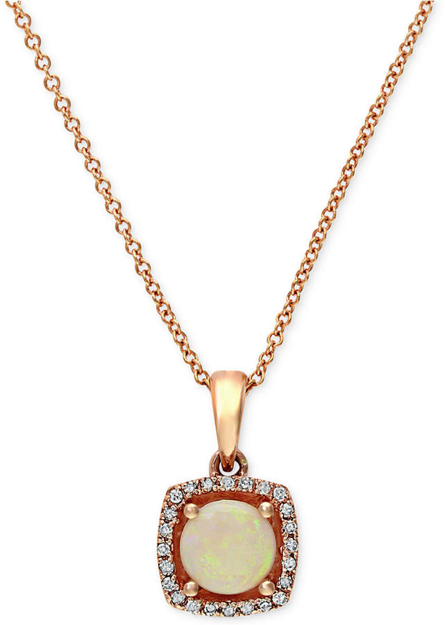 Effy Gemma by Opal (3/4 ct. t.w.) and Diamond Accent Pendant in 14k Rose Gold