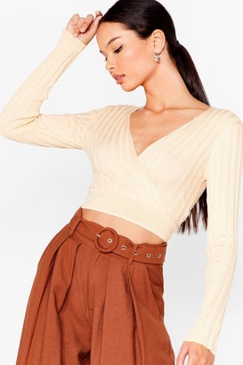 Nasty Gal Womens On Wrap Knit Crop Top - Cream