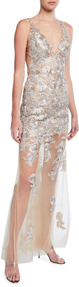 Jovani Lace Embroidered V-Neck Sheer Skirt Gown