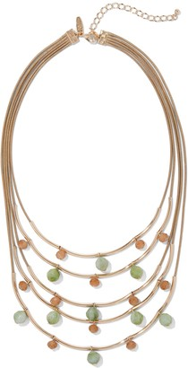 New York & Co. Goldtone Beaded Layered Statement Necklace