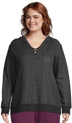 Just My Size Plus Size Lace-Up French Terry Hoodie