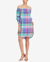 Polo Ralph Lauren Plaid Off-The-Shoulder Cotton Dress