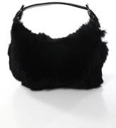 Isabella Fiore Black Leather Rabbit Fur Small Pochette Handbag