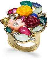 INC International Concepts I.n.c. Gold-Tone Stone & Flower Motif Statement Ring, Created for Macy's
