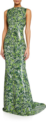 Halpern Jewel Neck Sleeveless Column Gown