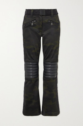 Goldbergh Battle Belted Camouflage-print Bootcut Ski Pants - Army green