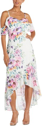 Nightway Cold-Shoulder High-Low Gown